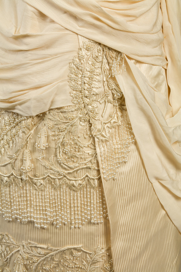 Lace and pearl detail view.